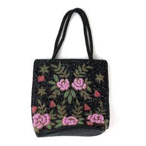Vintage Beaded Bucket Bag Floral Handles Formal